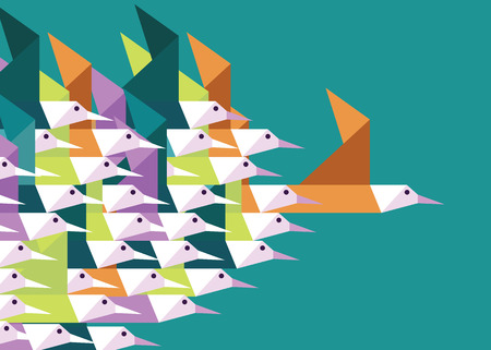 the boss: Geometric Group of birds. Leadership and Competition concept. Flat vector illustration