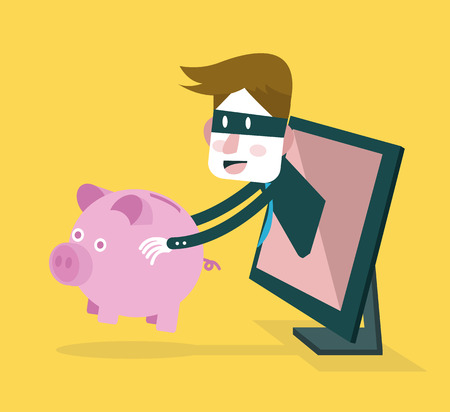 personal banking: Thief steal piggy bank from computer monitor. Business and Internet Risk. vector illustration