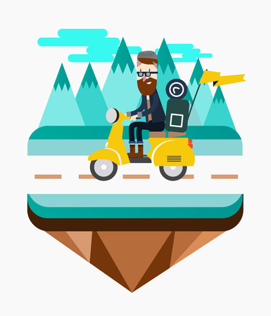 mountain view: Hipster riding a scooter near Mountain view. flat design elements. Vector illustration