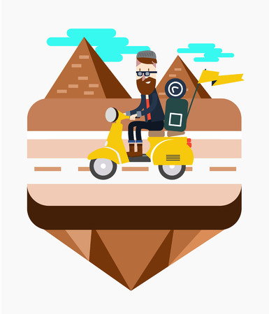 cheops: Hipster riding a scooter near Egypt pyramid scene. flat design elements. Vector illustration