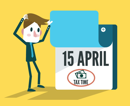 due date: Tax Time Calendar. flat design elements. vector illustration