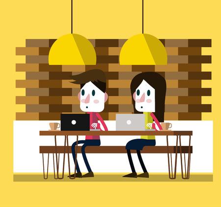 freelancer: People Working on laptop at coffee bar Illustration