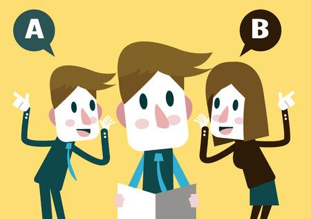 personas escuchando: Jefe escuchar plan de negocios de Marketing Team Vectores