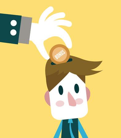 spent: Big hand giving bonus to small businessman Illustration