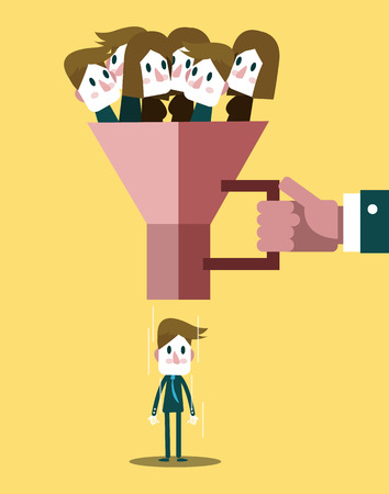 Human resources officer choose worker from the crowd Vector