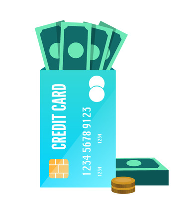 mastercard: Money enclose with credit card. flat design element. vector
