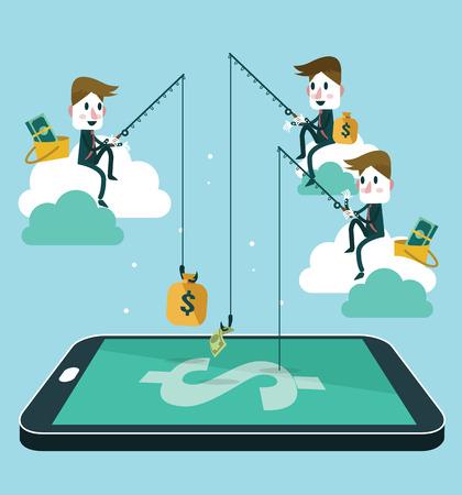 man fishing: la gente de negocios ganar dinero por la pesca dólar billete de la cartera en la pantalla del teléfono inteligente. Diseño plano ilustración vectorial