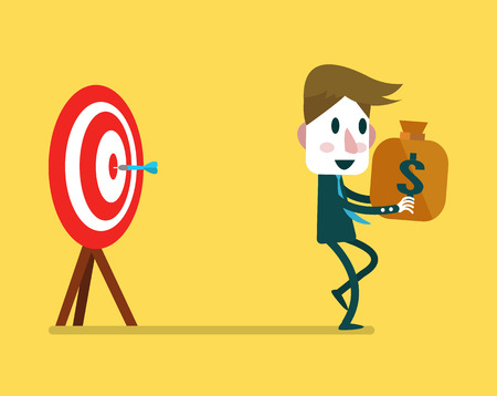 bull's eye: Businessman make money from Dart hitting. business concept. vector illustration Illustration
