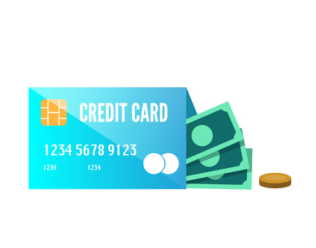 enclose: Money enclose with credit card. flat design element. vector