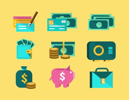 Money flat icons. finance icon set. vector Vector