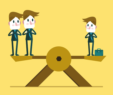 prominence: Small businessman weighting balance with two other big business people. Human resource concept.  vector illustration Illustration