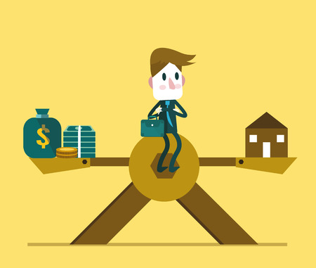 scale weight: Businessman sitting in the middle of scale, weight between work-money and family relationship. vector illustration