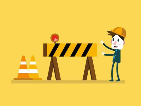 Homme d'affaires et sous le signe de la construction. illustration vectorielle