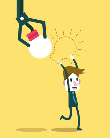 business innovation: Robot hand stealing idea light bulbs from businessman. flat design. vector illustration Illustration