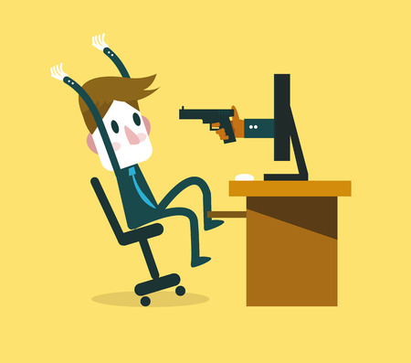 computer virus: Victim of internet Crime concept. flat character design. vector illustration