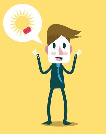 Businessman talking about his Idea. flat design character. vector illustration