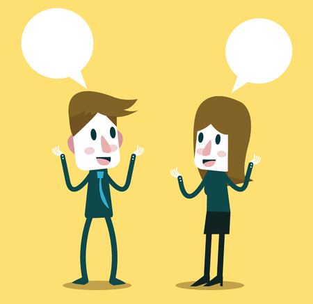 speak bubble: Two business people talking and discussing. flat character design. vector illustration