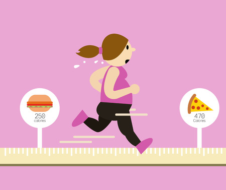 fat to thin: fat woman running on tape measure. Calories Burned concept. flat design elements. vector illustration