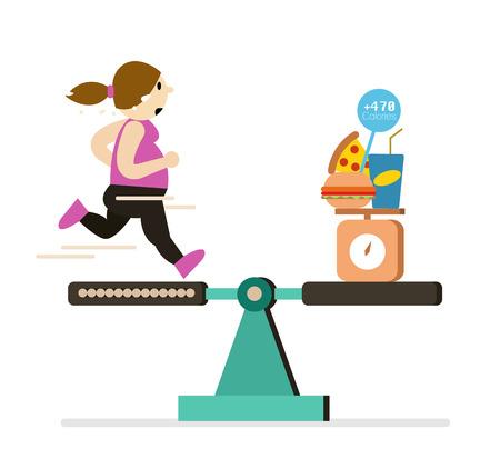 Equilibrio Fat chica corriendo con los alimentos tienen más calorías. elemento de diseño plano. Ilustración del vector. Ilustración de vector