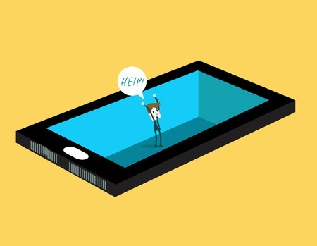mania: Businessman inside smartphone shouting for help. smartphone mania abstract. illustration vector Illustration