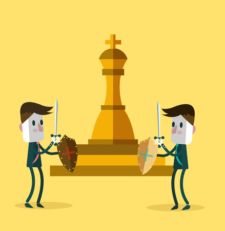 business competition: Two warrior businessman fighting for a golden chess. business competition. vector illustration