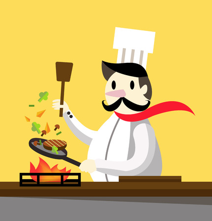 chef clipart: Professional chef cooking. flat design character. vector illustration Illustration