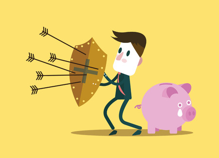 bank protection: Businessman protect piggy bank. financial savings concept. Vector illustration Illustration
