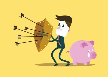 Businessman schützen Sparschwein. finanzielle Einsparungen Konzept. Vektor-Illustration