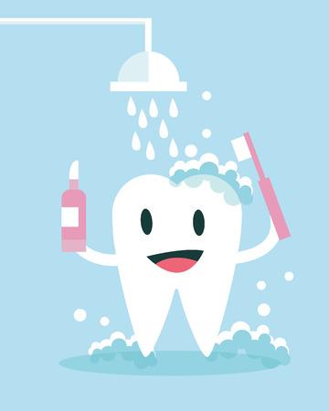 dientes sanos: Cepillado de dientes y tomar ducha en s�. dise�o de personajes plana. ilustraci�n vectorial