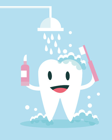 human teeth: Tooth Brushing and take shower Itself. flat character design. vector illustration Illustration