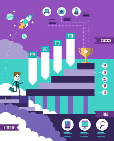 stage chart: Start up business to successful info graphic. flat design element. vector illustration