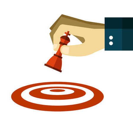 dart on target: Hand moves a chess pawn to dart target. flat design. vector illustration