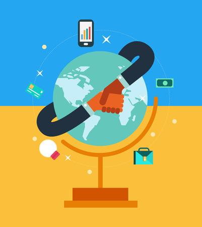 commerce communication: Global network business partner in a handshake. flat design. vector illustration