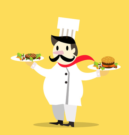 culinary arts: Vintage Chef Cook and Serving Special Dish. flat design character. vector