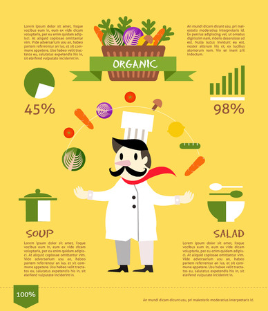 Chef with organic vegetable. flat design info graphic. vector illustration Vector