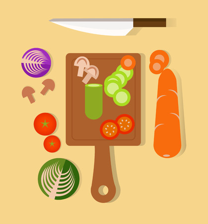 preparing: Cook and preparing. Cutting vegetables. flat design elements.vector