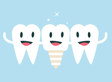 caries dental: Diente feliz con nuevo amigo, el concepto diente implantaci�n. dise�o de personajes plana. ilustraci�n vectorial