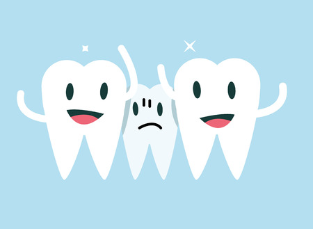 pediatric: Centre tooth unhappy with small space. orthodontic treatment concept.flat character design. vector illustration