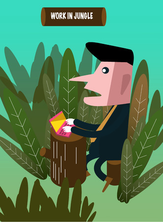 'hide out': Businessman sitting in jungle and working on the laptop. vector illustration