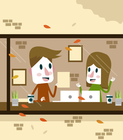 co workers: Man and Woman working in coffee shop. flat design character. vector illustration Illustration