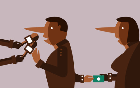 disloyal: liar people interviewing and hand receiving bribes. flat design character. vector illustration