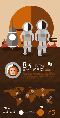 the humanities landscape: Astronaut spaceman planet Mars surface space. flat design info graphic. vector illustration Illustration