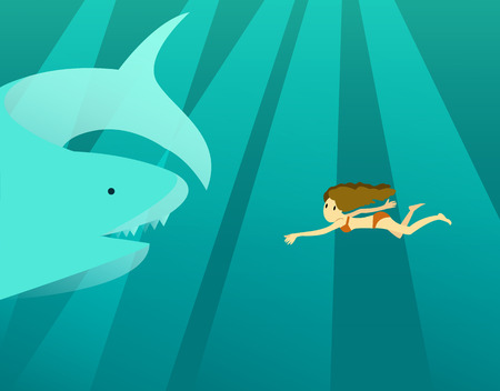 woman underwater: Woman swimming in the deep ocean with big shark. flat design character. vector illustration
