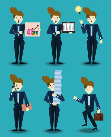 flat character: Set of businessman characters. flat character design. vector illustration Illustration