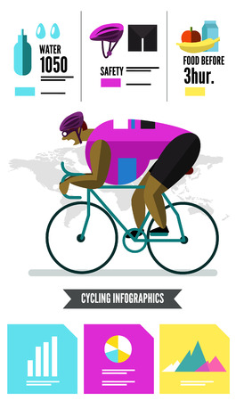flat character: Cyclist racing infographics. flat character and design elements. vector  illustration