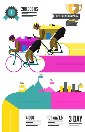 sports race: Cyclist racing infographics. flat character and design elements. vector  illustration