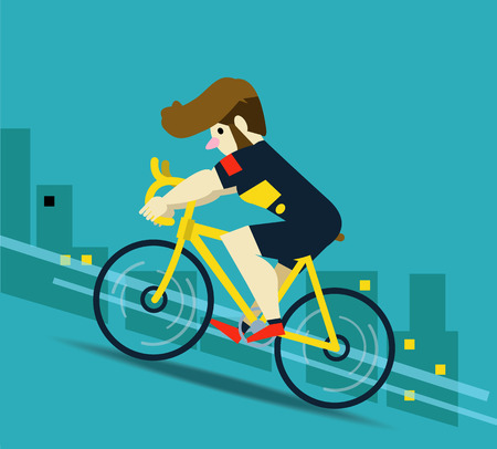 cartoon biker: Racing cyclist in action on city background.  flat character design. vector illustration