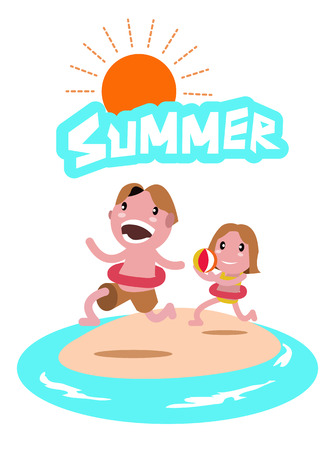 flat character: Kids playing at the beach. flat character design. vector illustration