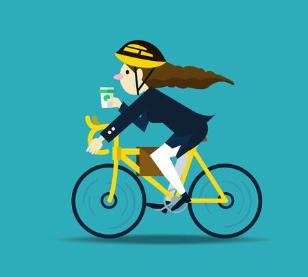 andando en bicicleta: Mujeres de negocios en bicicleta al trabajo. carácter diseño plano. ilustración vectorial