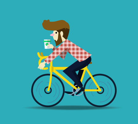 Hipster man cycling his fixie bike. flat design character. vector illustration Иллюстрация